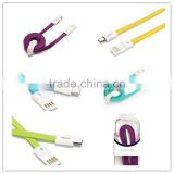 Pisen 0.8m 2.6ft High Quality Fast Charging Multicolor Flat 2 in 1 Noodle Type Micro USB Cable