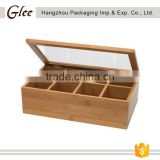 Wholesale Handmade 8 Compartment gift bamboo tea bag box