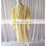 Yellow Cotton Waffle Fabric Bathrobe Hotel Bathrobe Dressing Gowns for women Long Hotel Bath Robe Pajamas Longue