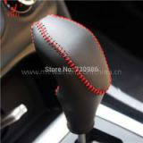 Gear Shift Knob Cover For Citroen C4L 2013 2014 XuJi Car Special Hand-stitched Black Genuine Leather Covers