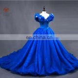 Stunning OEM Service Off Shoulder Ball Gown With Long Tail Organza Blue Prom Dress