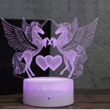 Cute Heart Bear 3D LED illusion Night Light Table Desk Lamps,3 Color Changing Lights with USB Charger for Kids Gifts