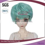 light blue curly synthetic bjd doll short hair wigs