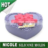 Chinese heart shaped silicone soap mold