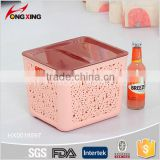 New Hollow Design Coral Color Plastic Basket Organizer