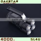 DAKSTAR New Arrival SL4U XML2 U2 4000LM 18650 High Power Aluminum Rechargeable LED Power Style Flashlight With CREE
