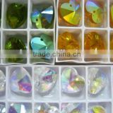 HEART SHAPE GLASS BEADS, 14MM CRYSTAL GLASS BEADS SOME WITH AB SOME WITHOUT AB RAINBOW
