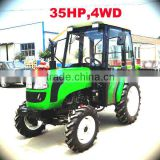35HP small tractor with front loader 4in1 bucket and backhoe,4cylinders,8F+2R shift,with Cabin,heater,fan,fork,blade
