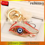 Fashion Jewelry Crystal Blue Evil Eyes Beads Keychain Rhinestone Key Ring