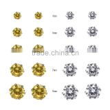 Fantasy Citrine+Clear Color Cubic Zirconia 316L Hypoallergenic Stainless Steel Stud Earring Jewelry Earrings Set 10Pairs/Bag