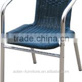 Anodized aluminum resin wicker chair