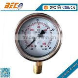 Customized mechanical Stainless steel case glycerine or silicone oil filled pressure gauge