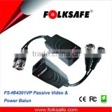 Folksafe video balun allows the transmission of real-time CCTV HD video and power signal via UTP cable built-in surge protector