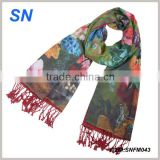 2014 latest fashion digital print floral silk shawl                                                                         Quality Choice