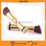 Bamboo handle double side brush angled foundation smudge with gold ferrule