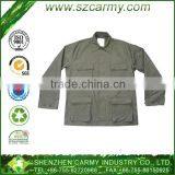 100% cotton Olive green tactical BDU uniform with button closure 4 front pockets and turn-down collar