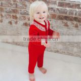 DB402 dave bella autumn cotton infant clothes baby one-piece knit baby girl romper jumpsuit christmas clothes