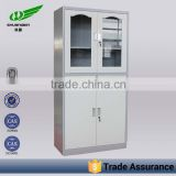 Commen glass door cabinet/ low price high quality steel office cupboard/ 2 doors stainless file cupboard