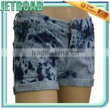 Stylish Knitted Denim Jeans shorts - Sexy stretchy roll-up 5 pockets shorts jeans, discharge prints