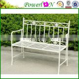 Discounted New Vintage Design Wrought Iron White Folding Bench For Park Patio J24M TS05 X11B PL08-10288