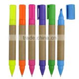 Eco-paper ball point pen for barrel double head pen highlighter pen Mini fat pen