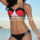 Sexy Color Block Halter Push-up Red Bikini Lingerie PW-LC41024-2