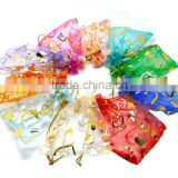 13*18cm In Stock Wholesale Hotsale Drawstring Heart Organza Pouches Bags for Wedding Party Jewellery