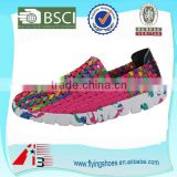 china factory women woven weave shoes , elastic belt hand knit shoes , handmade woven elastic shoes