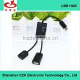 Hot sell high speed 2 PORT 2.0 Micro USB OTG Charge Hub for Mobile Phone and Tablet