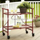 Red Metal Collapsible Serving Cart 2 Tier Shelves Mobile Utility Kitchen Island