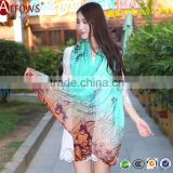 2016 New Design 100% Cotton Voile Coral Pattern Gradient Color Women Scarf Scarves Shawls and Stoles