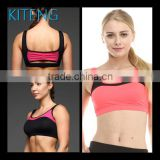 Kiteng 2016 new design yoga sports bra with contrast color mesh panel wicking fabric and padding Office In United States