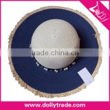 Wide Brim Blue Color Pearl Decoration Summer Beach Hat Sun Straw Hat