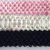 "New arrival High Quality 1.5"" Wide elastic handmade plain crochet headband for baby tutu tops girl accessories hairband"