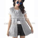 CX-G-B-184 New Fashion Knitted Women Grey Rabbit Fur Alpaca Fur Vest