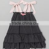 New Fashion Charcoal Tie Shoulder Swing Dress For Baby Girl Toddler Fancy Summer Wear Children Clothes GD90427-69