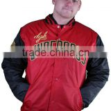 Custom Navy Blue Color Body and Red Sleeves Satin College Varsity Jacket/