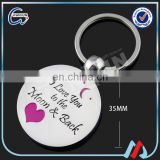 cheap wholesale 35mm custom I LOVE YOU metal gift keyring