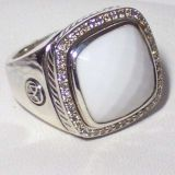 Sterling Silver Jewelry 15mm White Agate Albion Ring(R-126)