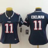 New England Patriots #11 Edelman Women Blue Jersey