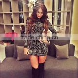 2015 Sey Rhinestone sequined high neck long-sleeve bodycon dress evening luury noble elegant celebrity party bandage dress