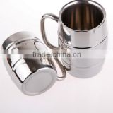 Passed FDA, CA65 Double Wall Barrel Shaped Stainless Steel Beer Mug 18oz/copper plating beer mug