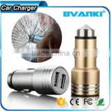 New 3.1A Quick Charge 2.0 Travel Car charger for Travel in-Car use/ Stainless Steel Safety Hammer QC 2.0 Dual USB Car Charger                                                                         Quality Choice