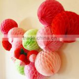 "Professional party supplier Colorful Wedding hanging decoration 8"" Paper honeycomb ball"