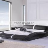 Classic Queen Side Bed for Modern Bedroom Furniture Black Color Leather Bed Use For Home Soft Bed Design