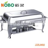 Restaurant supply stainelss steel serving chafing dish with foldable flame packed with gift box