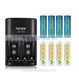 2016 HOT!!! RENEW S2 4Bay Quick Smart AA AAA Battery Charger with 4pcs 2950mAh & 4pcs 2800mAh AA Ni-MH Rechargeable Batteries