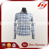 2015 latest fashion Women ladies woven long sleeve OL check plaid cotton 100% shirt and blouse