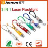 15Mw 3 In 1 Laser Pointer Flashlight With 2 LED Flashlight UV Torch Light Keychain                                                                         Quality Choice