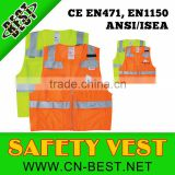 Woven orange ANSI/ISEA107-2010 Safety vest with pocket